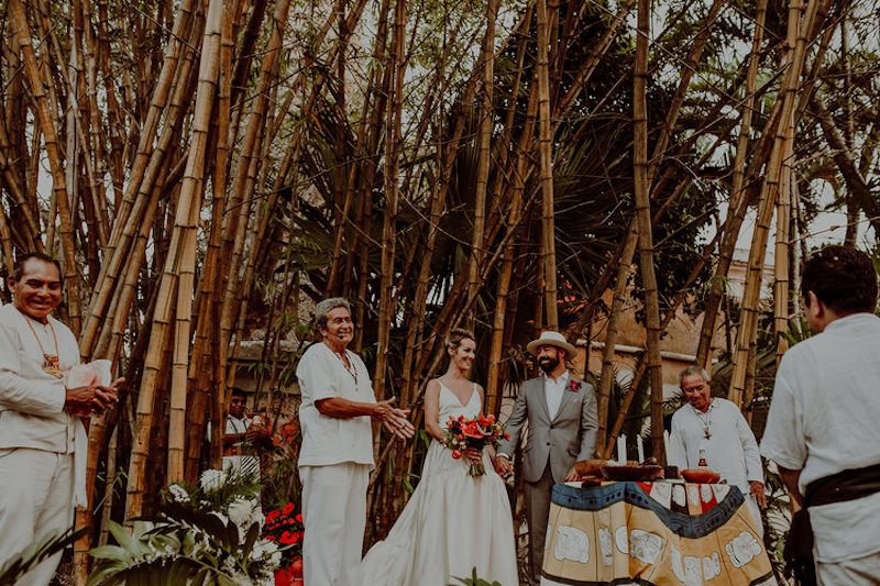 Happy couple at Mayan Wedding in Yucatan