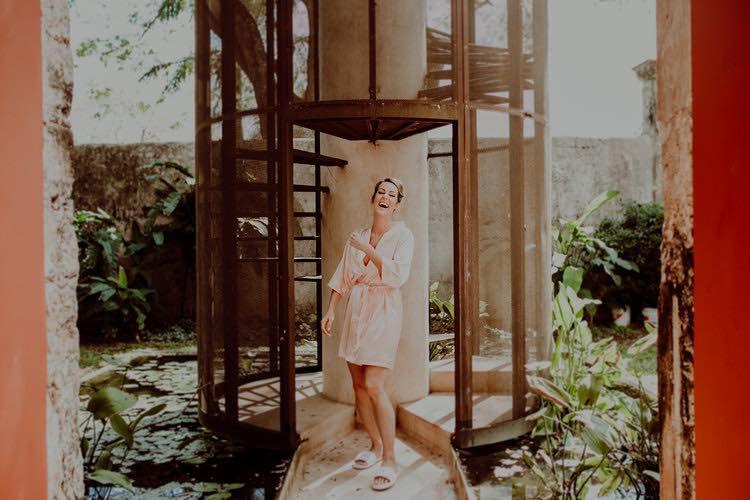Bride smiling at Hacienda Sac Chich