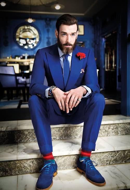 trajes de novio azul