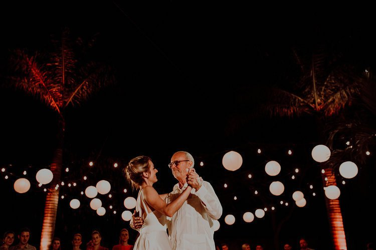 Father and bride dancing at Destination Wedding