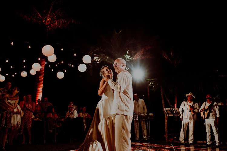 Bride and her father dancing Groom and his mother dancing at Hacienda Sac Chich