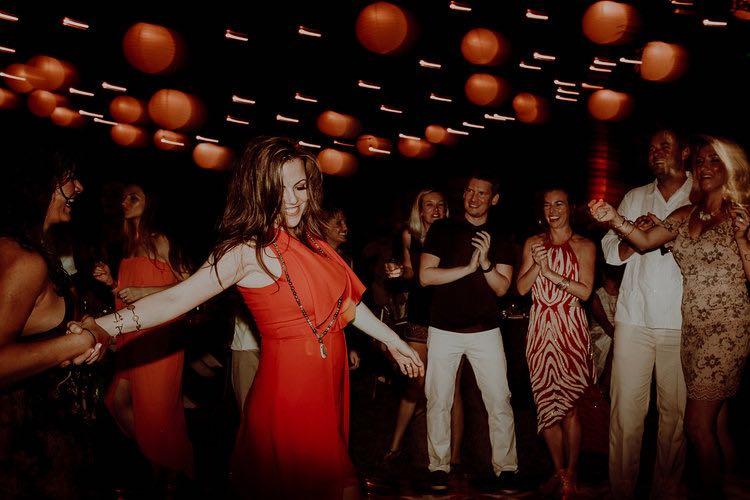 Guest dancing at hacienda sac chich wedding