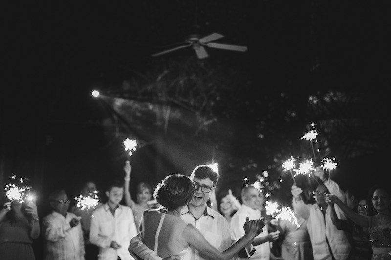 Groom with guayabera dancing at his Destination Wedding at Yucatan