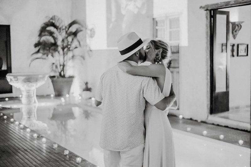 Wedding couple kissing at Destination Wedding