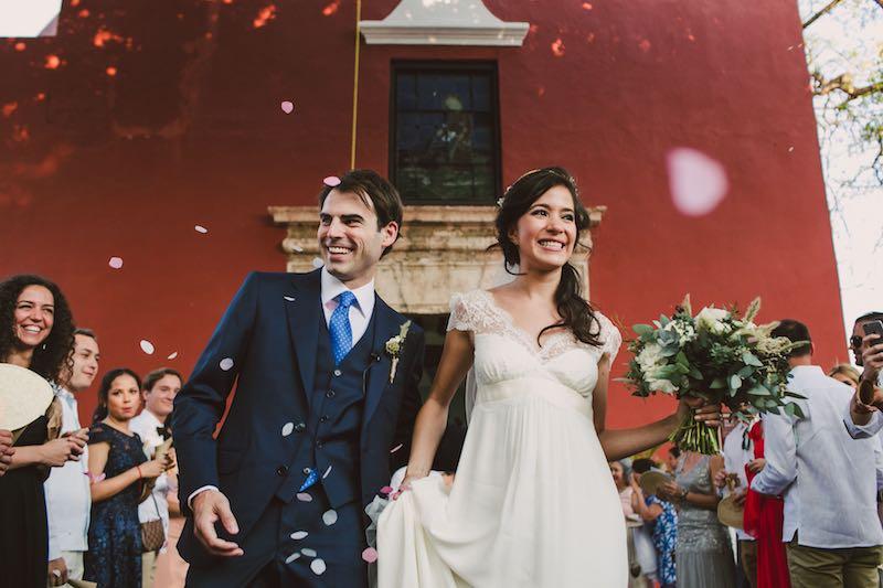Just married happy wedding couple at Hacienda Chichi Suarez Yucatan