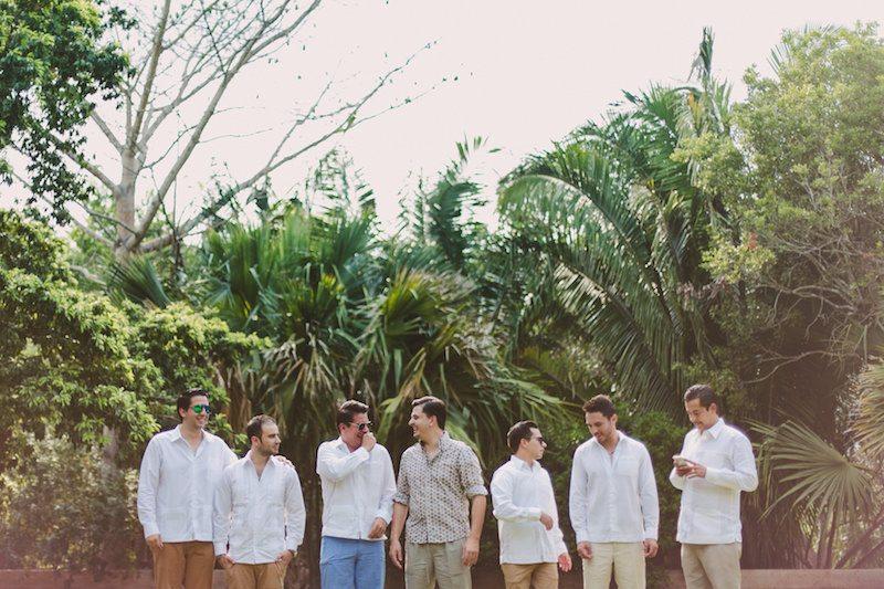 Groom and bestmen, wearing guayaberas at Destination Wedding in Yucatecan Hacienda