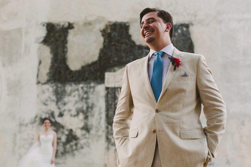groom smiling in Destination Wedding