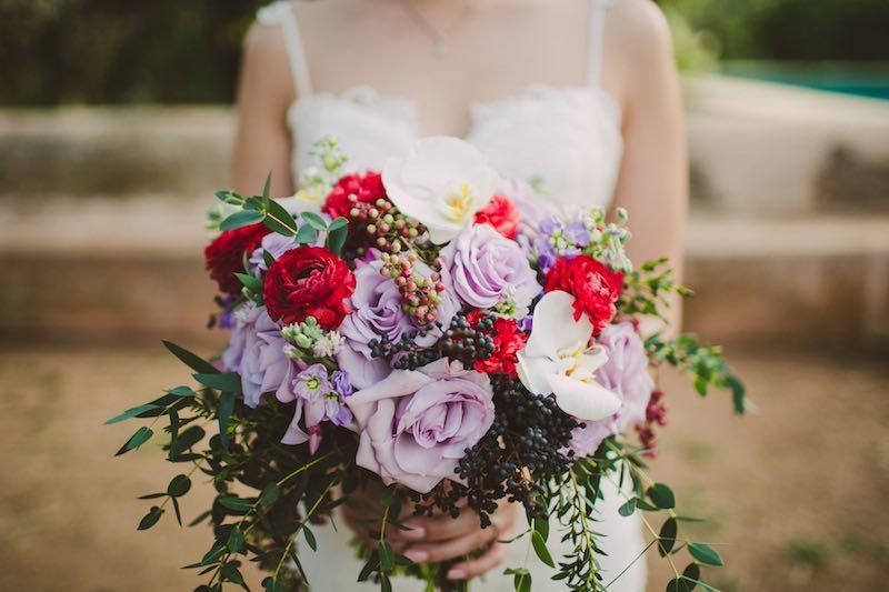 romantic bride bouquet at hacienda wedding in yucatan