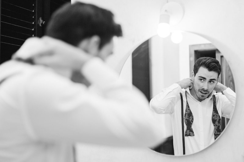 Groom getting ready at Destination Wedding in Yucatan