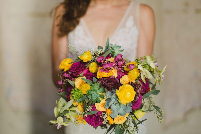 colorful wedding bouquet at destination wedding