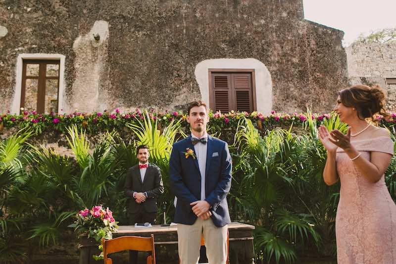 Groom awaits for the bride at Destination Wedding Yucatan