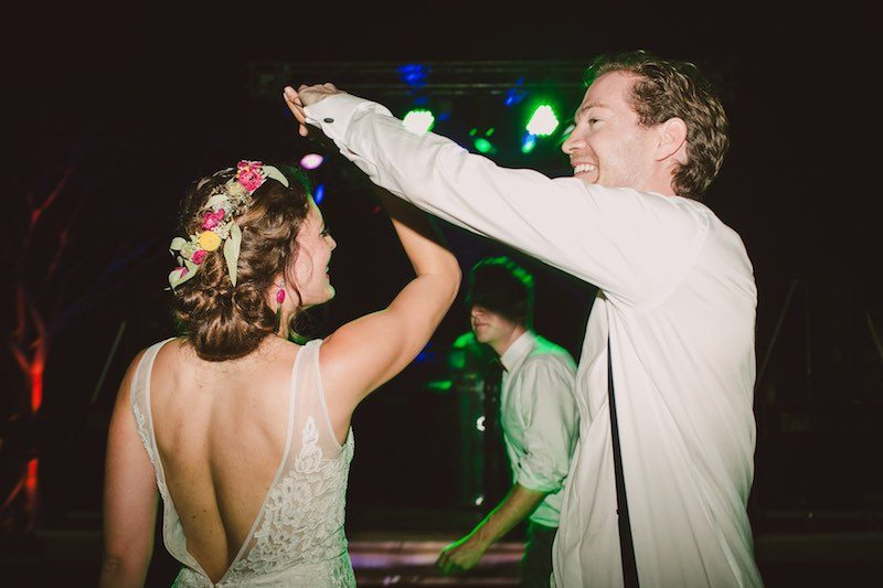 Bride dancing at Destination Wedding in Yucatan