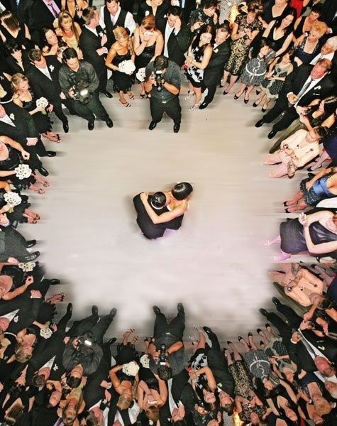 aerial view of a wedding