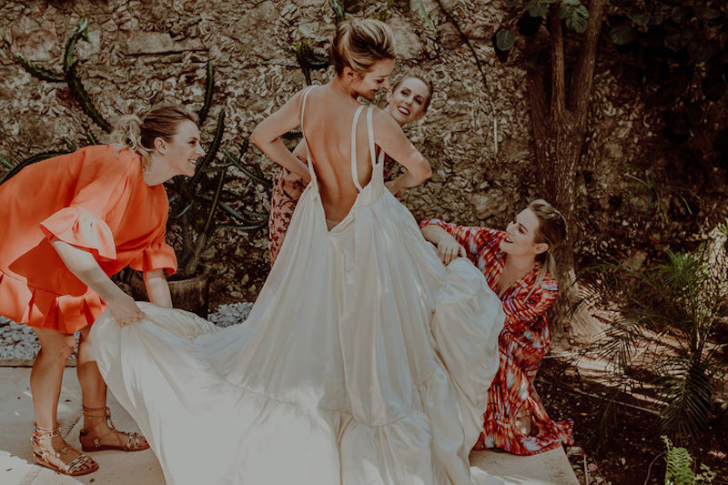 beautiful wedding dress friends