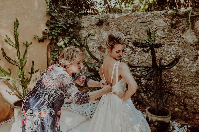 bride with wedding mother's bride