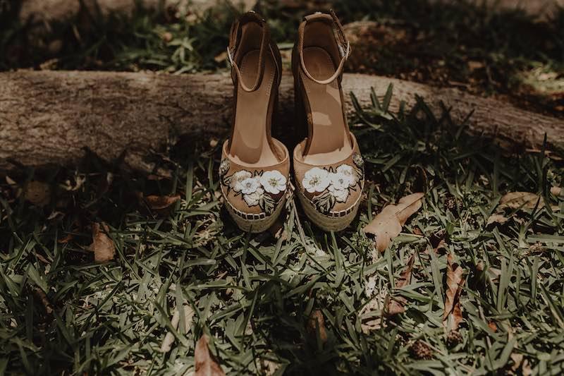 Bridal shoes in a hacienda wedding