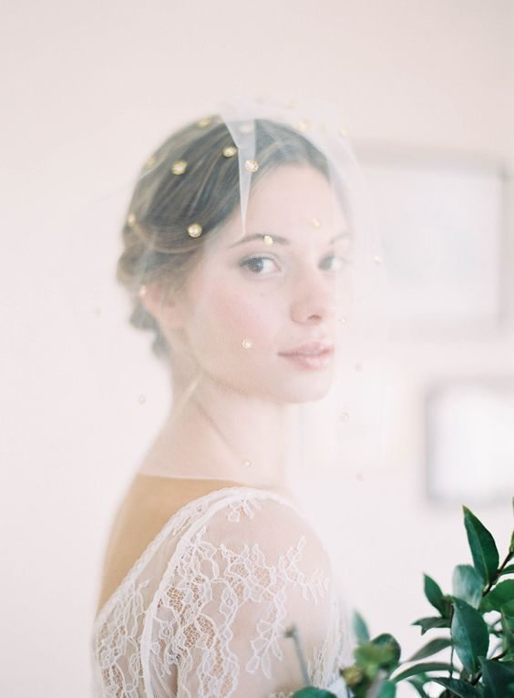 short or blusher style bridal veil