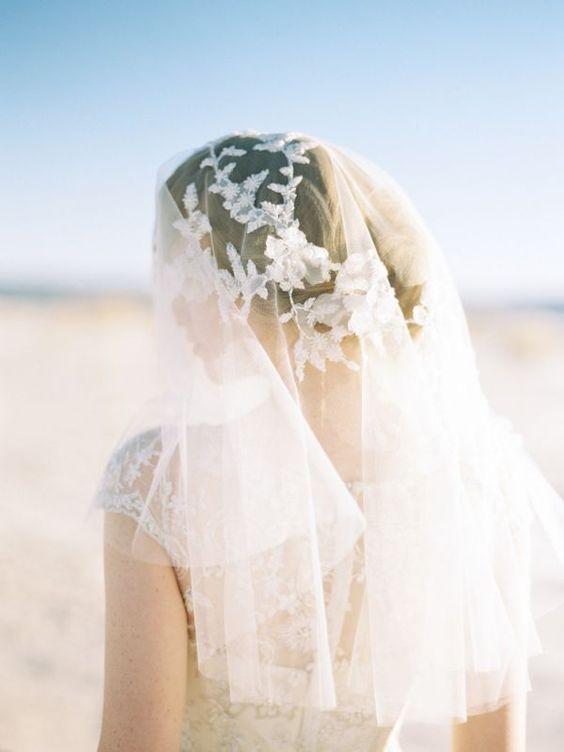 short or blusher style bridal veil