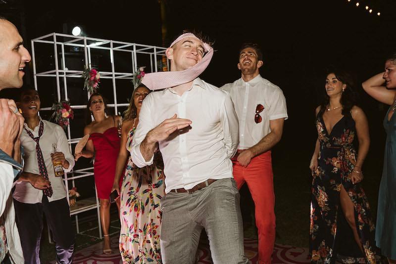 wedding guest having fun