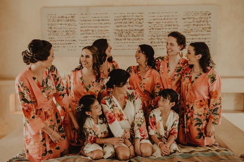 Bride and bridesmaids at casa sisal