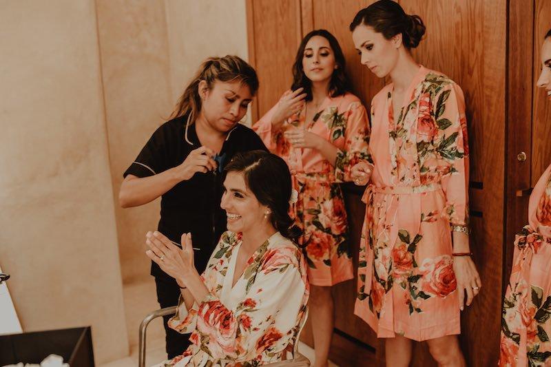 Bride and bridesmaids getting ready at casa sisal