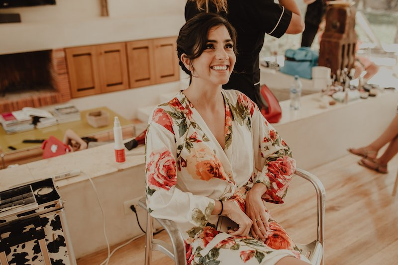 happy bride during her getting ready