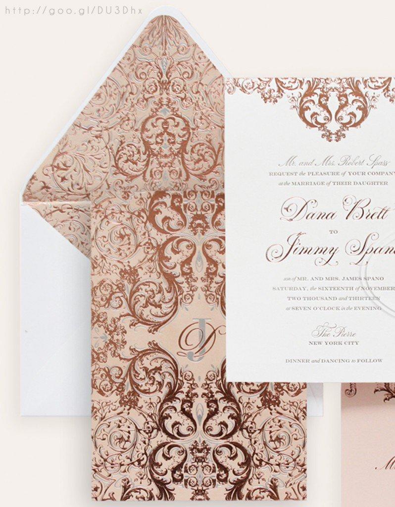 Elegant Rose Gold Wedding Invitation