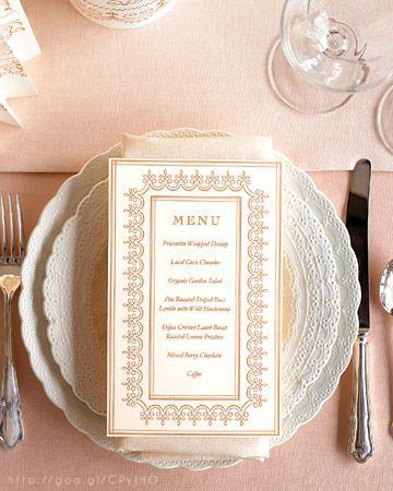 Rose Gold Wedding menu design