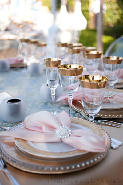 Details at rose gold wedding table