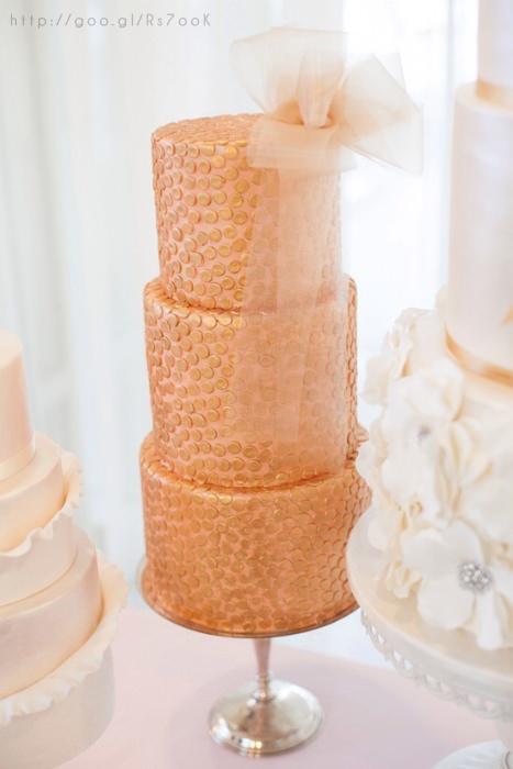 fun rose gold wedding cake
