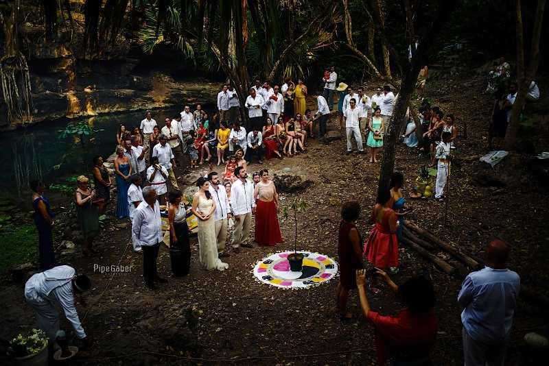tree mayan Ceremony wedding cenote yucatan