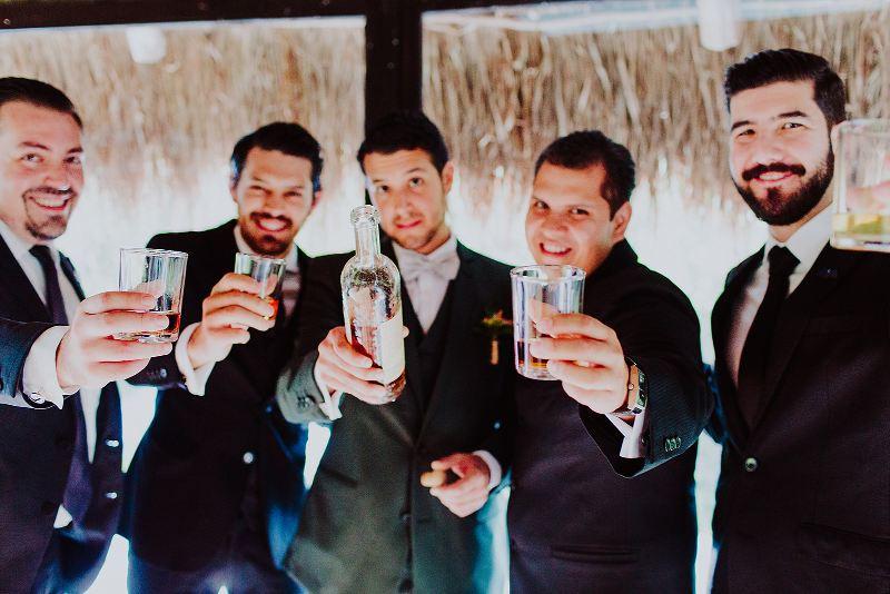 groom friends toasts getting ready wedding