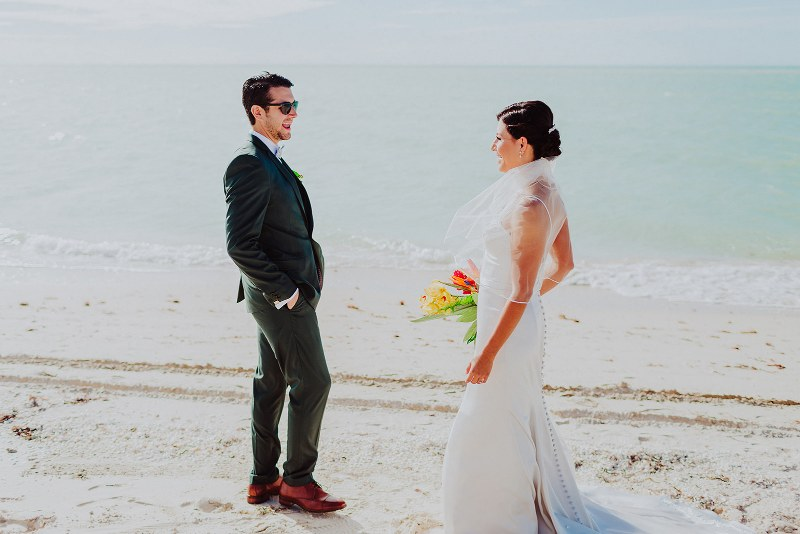bride and groom wedding beach first look