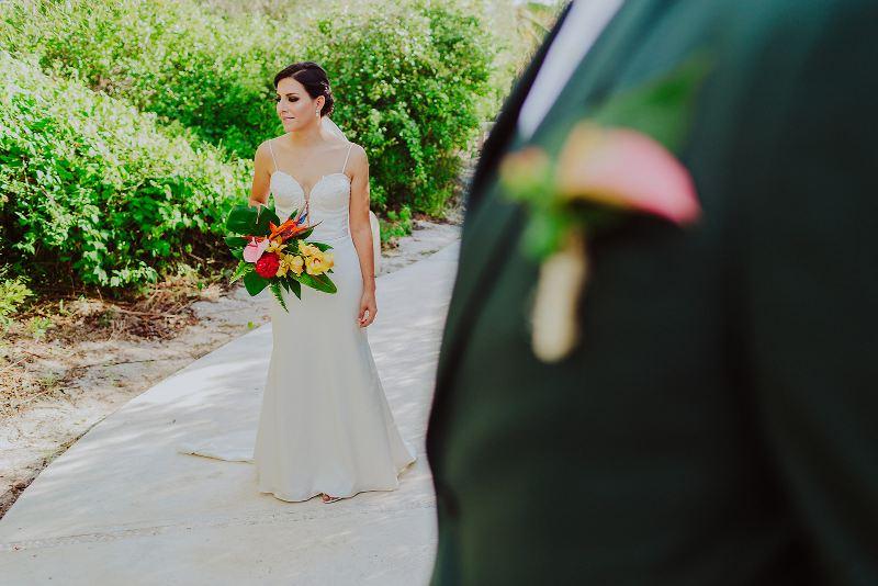 bride and groom nuptial look wedding beach