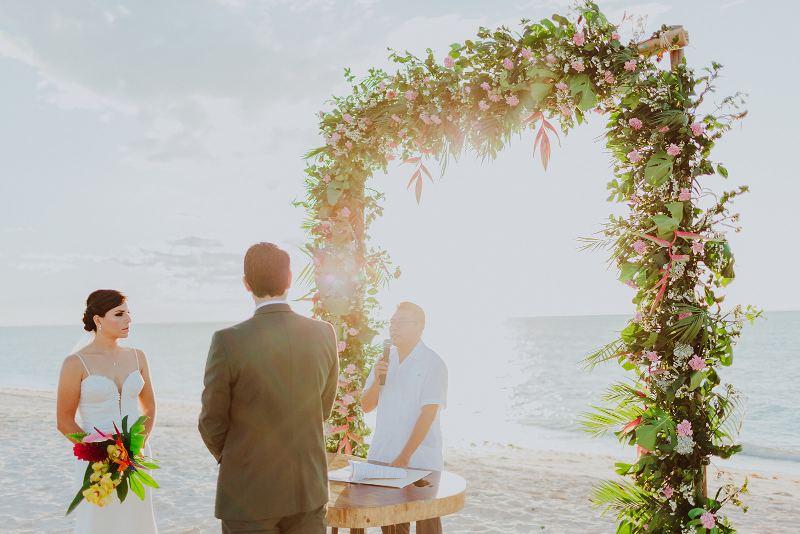 Wedding at celestun beach sea