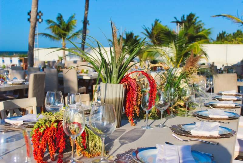 tropical tableware at beach