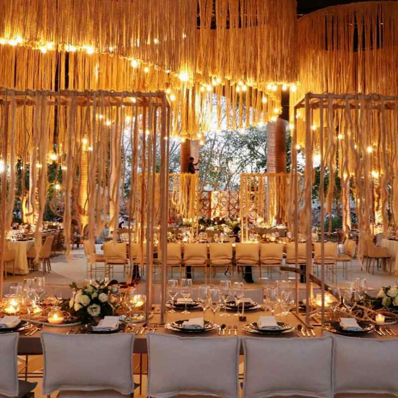 warm lighting for elegant event furniture