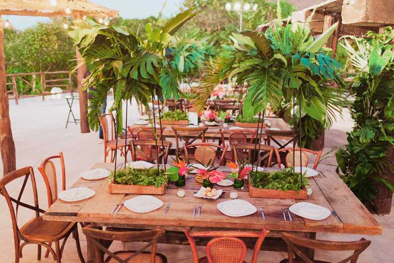 tropical style foliage at event furniture beach