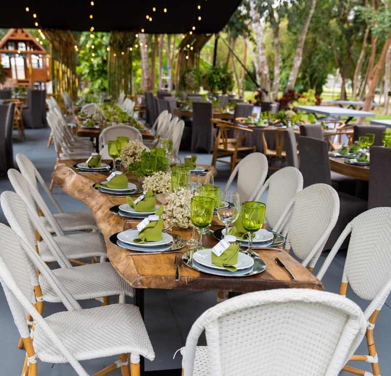 Wood tables in event furniture