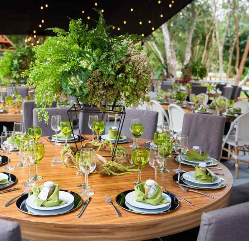Minimalist forest table in event furniture.