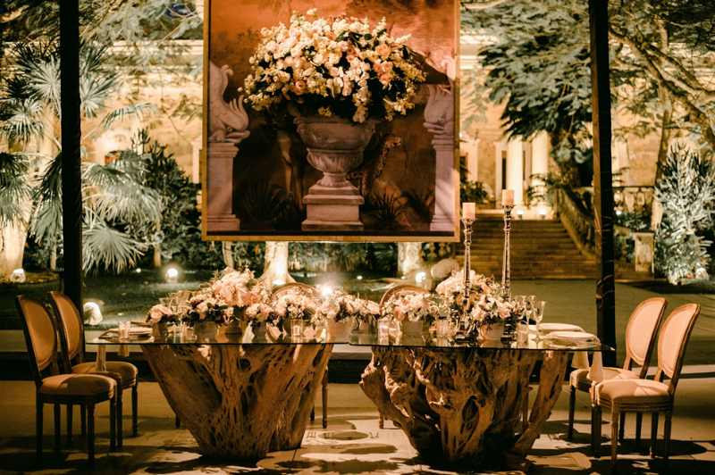 Roots wood tables in event furniture
