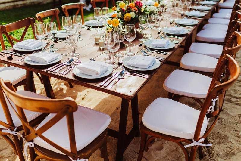 modern tableware wood table tropical