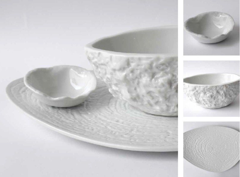 White tableware for a beach wedding