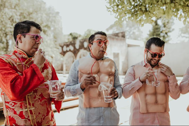 wedding hacienda Tanchem yucatan groom friends