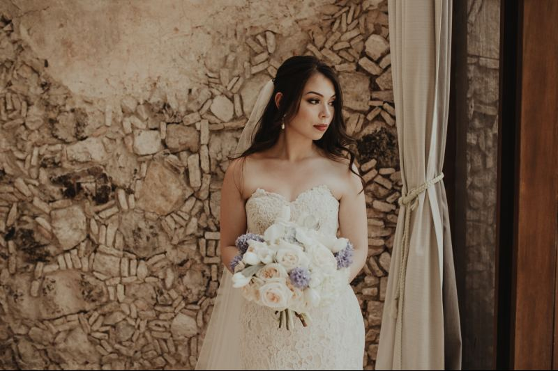 wedding hacienda Tanchem yucatan bridge outfit