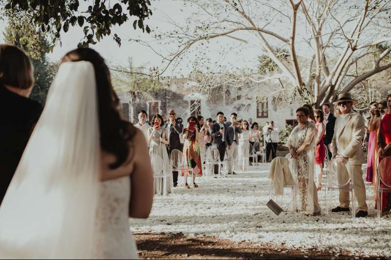 wedding hacienda Tanchem yucatan petals ceremony