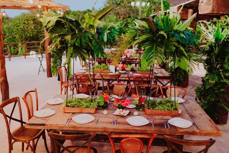 wedding furniture tableware tropical foliage