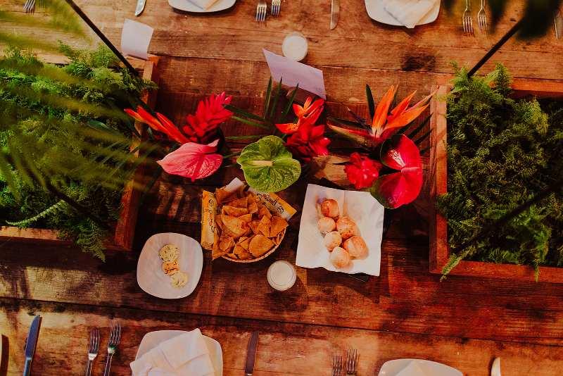 wedding furniture tableware tropical flowers