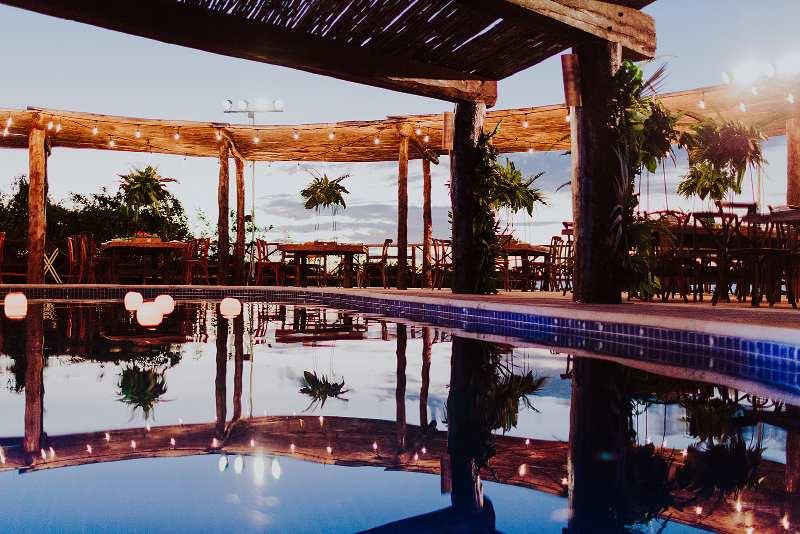 Wedding decoration beach swimming pool