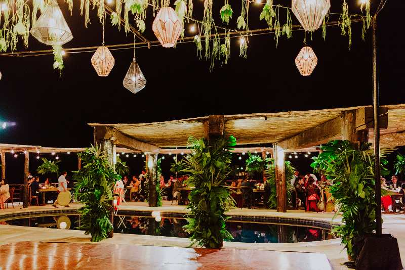 wedding furniture tropical foliage candle ceiling